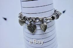 Vintage En Argent Sterling Puffy Heart Charm Bracelet Loaded Repousse 11 Coeurs