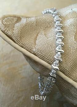 Vintage En Or Blanc 14k Des Diamants Ronds Tennis S-bracelet 6,5 Longue 9 Ct