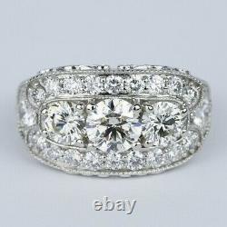 Vintage Engagement Trilogie Milgrain Anneau 14k Or Blanc Sur 2,25 Ct Diamant
