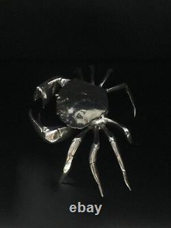 Vintage Espagnol Sterling Silver Novelty Crab Snuff Box