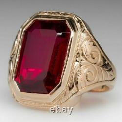 Vintage & Estate Men's Jewelry Ruby Bold Men's Ring In 14k Rose Gold Over 7. Ct
