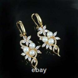 Vintage & Estate Perle & Diamond 14k Or Jaune Finition Boucles D'oreilles Omega Dos Drop