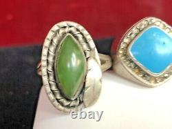 Vintage Estate Sterling Silver Lot 3 Anneaux Southwestern Jade Jadeite Turquoise