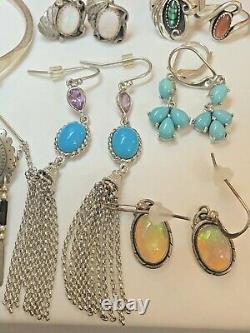 Vintage Estate Sterling Silver Lot Southwestern Jewelry Boucles D'oreilles Bague Bracelet