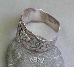 Vintage Fred Harvey Era Thunderbird Flèches D'argent Sterling Entiers Bracelet