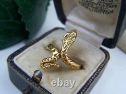 Vintage Gold Plaqué Solide Sterling Silver Snake Cobra Serpent Ring Taille M 6 Rare