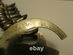 Vintage Grand Native Navajo Sterling Silver Squash Collier De Squash Signé Earl