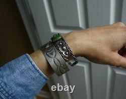 Vintage Harvey Era Amérindien Navajo Estampé En Argent Sterling Bracelet