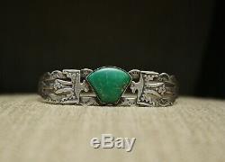 Vintage Harvey Era Navajo Sterling Silver Turquoise Bracelet