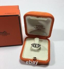 Vintage Hermes Sterling Silver H Charm Farandole Chaine D'anecre Cheval Bit Ring