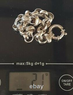 Vintage Italien 20cm Sterling Silver Belcher Lien Gravé Bracelet Bolt Ring CL