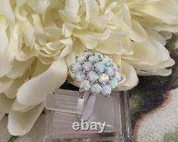 Vintage Jewellery Sterling Silver Ring Opales Antique Deco Jewelry Extra Grand V