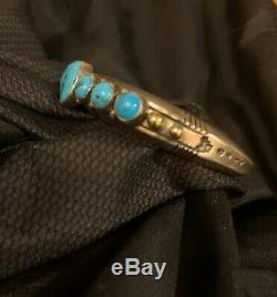 Vintage Kingman Turquoise 7 Row Bracelet En Argent Sterling Lourd Jb Navajo 14k