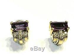 Vintage Lagos Ss & Caviar D'or 18 Carats Améthyste Et Diamants, Omega Retour