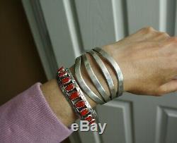 Vintage Large Lourd Amérindien Navajo Entiers Sterling Bracelet