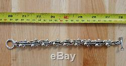 Vintage Lourd Berry Bracelet En Argent 925 8,5 85g Chunky Poivres