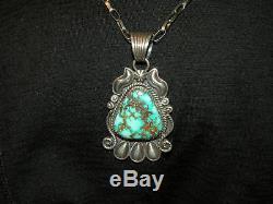 Vintage Main Navajo High Grade Royston Turquoise Pendentif En Argent Sterling