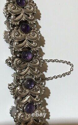 Vintage Margot De Taxco Mexican Sterling Silver & Amethyst Bracelet