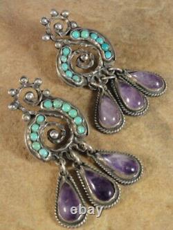 Vintage Mexicain Matl Matilde Poulat Argent Sterling Boucles D'oreilles Turquoise Améthyste