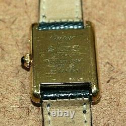 Vintage Must De Cartier Gp Sterling Silver Ladies Mechanical Tank Watch 110wei