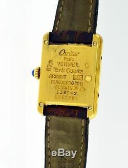 Vintage Must De Cartier Tank 20mm Argent 925 Vermeil Quartz Avec