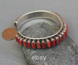 Vintage Na Sud-ouest En Argent Sterling 35 Corail Row Cuff Bracelet
