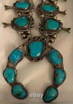 Vintage Native American Navajo Squash Blossom Sterling Silver Turquoise Collier