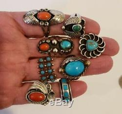 Vintage Native American Sterling Argent Turquoise Et Corail Bague Lot