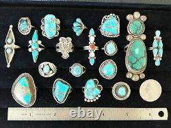 Vintage Native American Turquoise Sterling Argent 18 Anneau Lotnavajo & Zuni