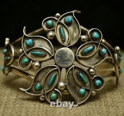 Vintage Native American Zuni Turquoise Sterling Bracelet De Couffin En Argent Sterling