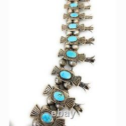 Vintage Navajo 1950 En Argent Sterling Royston Turquoise Collier Squash Blossom