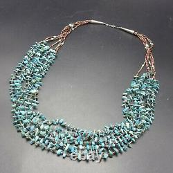 Vintage Navajo 7-strand Turquoise Shell Heishi Collier Sterling Silver End Cône