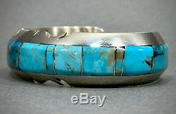 Vintage Navajo Amérindien En Argent Sterling Turquoise Inlay Bracelet