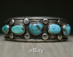 Vintage Navajo Amérindien Turquoise En Argent Sterling Bracelet