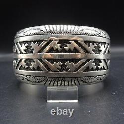 Vintage Navajo Argent Sterling Cuff Bracelet Par Tommy Et Rosita Singer