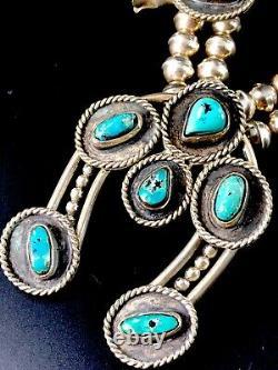 Vintage Navajo En Argent Sterling Bisbee Bleu Turquoise Squash Blossom 26 Collier