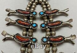 Vintage Navajo En Argent Sterling Collier Turquoise Et Corail Squash Blossom Mint