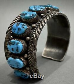 Vintage Navajo En Argent Sterling Kingman Turquoise Bracelet