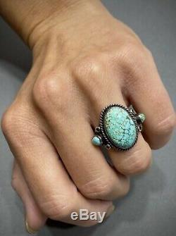 Vintage Navajo En Argent Sterling Vert Spiderweb Bague Turquoise