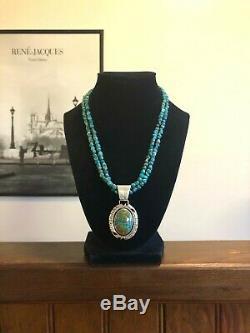 Vintage Navajo Florence Tahe En Argent Sterling Turquoise Pendentif Collier 925