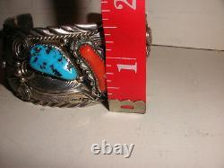 Vintage Navajo Grand Argent Sterling Turquoise Corail Bracelet Homme M Thomas Jr