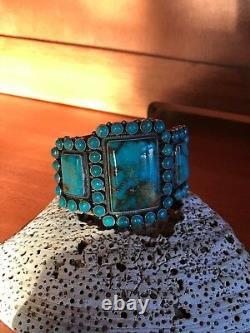 Vintage Navajo Kirk Smith Bracelet Turquoise Cluster En Argent Sterling