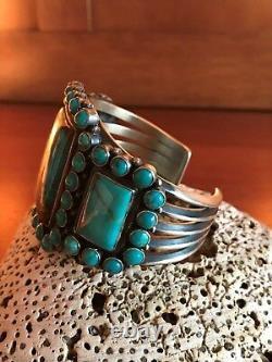Vintage Navajo Kirk Smith Bracelet Turquoise Cluster Sterling Argent
