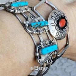 Vintage Navajo Lso Argent 925 Turquoise Corail Boutons De Manchette Sw Bracelets Lot