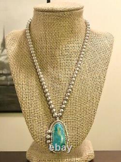 Vintage Navajo Roy Buck Sterling Silver Turquoise Pendentif 6mm Collier De Perles 925