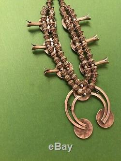 Vintage Navajo Shadowbox Argent Sterling Et Turquoise Collier Squash Blossom