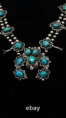 Vintage Navajo Squash Blossom Collier Sterling Silver Stunning Turquoise 24