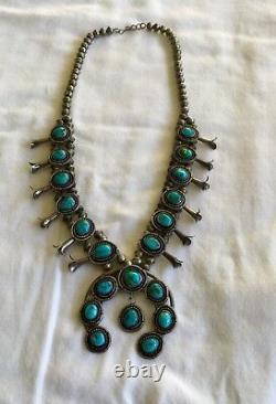 Vintage Navajo Squash Collier En Argent Sterling Et Turquoise Signé 1960