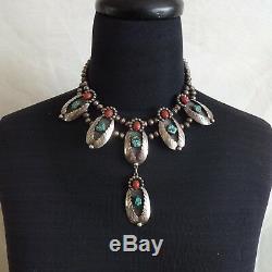 Vintage Navajo Squash En Argent Sterling Coral Et Turquoise Fleur De Style Collier