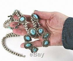 Vintage Navajo Sterling Gem Grade Fleurs De Courge Turquoise Sleeping Beauty